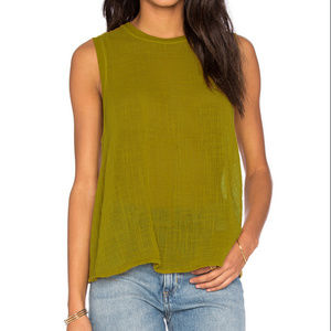 Enza Costa Olive Cotton Gauze Sleeveless Top S